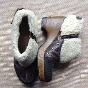 Jambu Holland Brown Leather  Faux Fur Ankle Boots